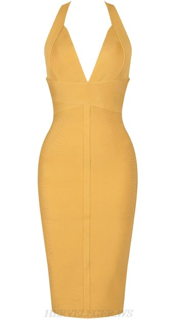 Herve Leger Mustard V Neck Halter Backless Bandage Dress