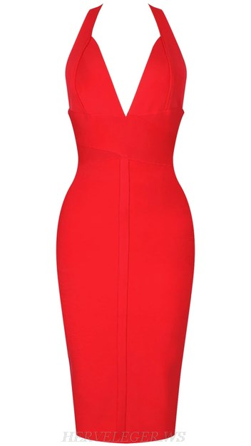 Herve Leger Red V Neck Halter Backless Bandage Dress