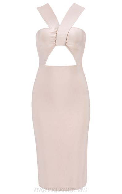 Herve Leger Nude Pink Halter Cut Out Bandage Dress