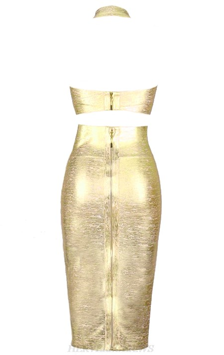 Herve Leger Gold V Neck Halter Woodgrain Foil Print Two Piece Bandage Dress
