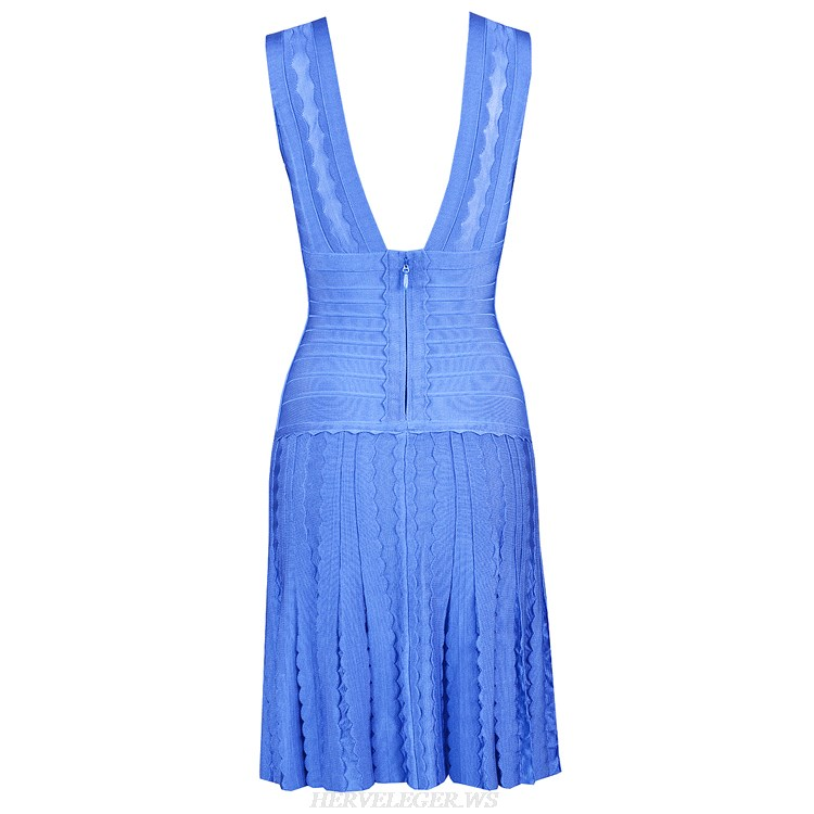 Herve Leger Black And Blue Multi Color V Neck Pointelle-Trimmed Fringe Bandage Dress