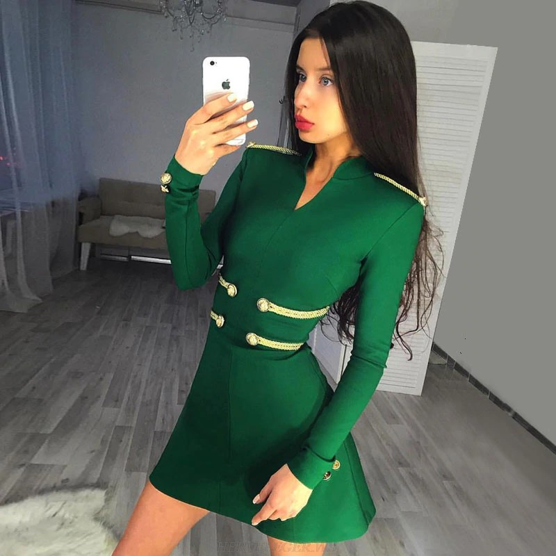 Herve Leger Green V Neck Long Sleeve A Line Officer Bandage Dress