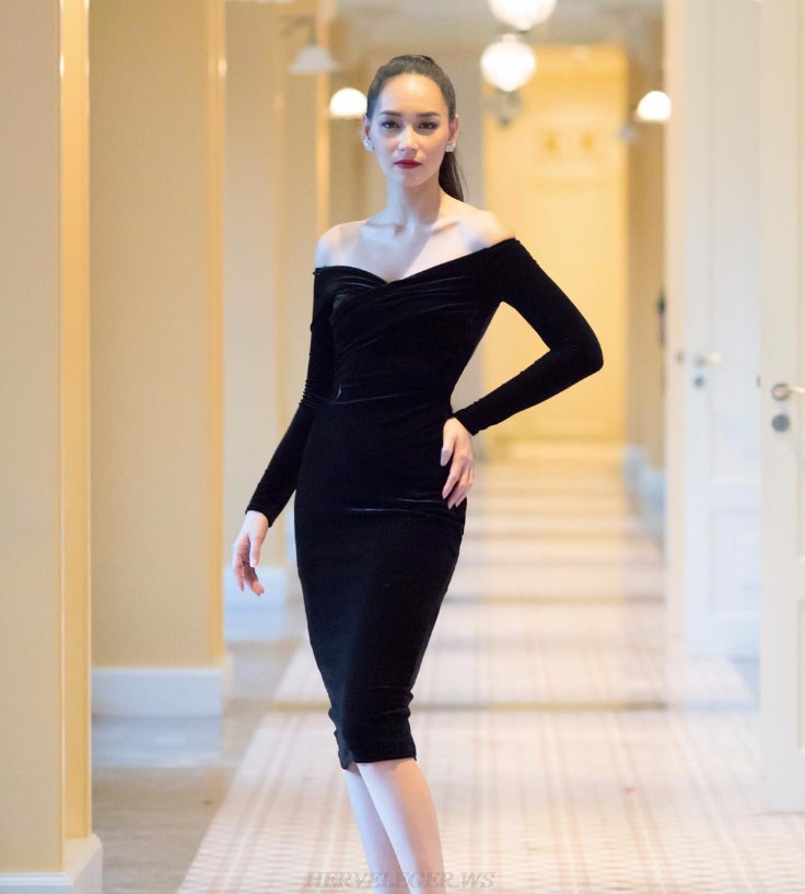 Herve Leger Black Long Sleeve Bardot Velvet Strapless Dress