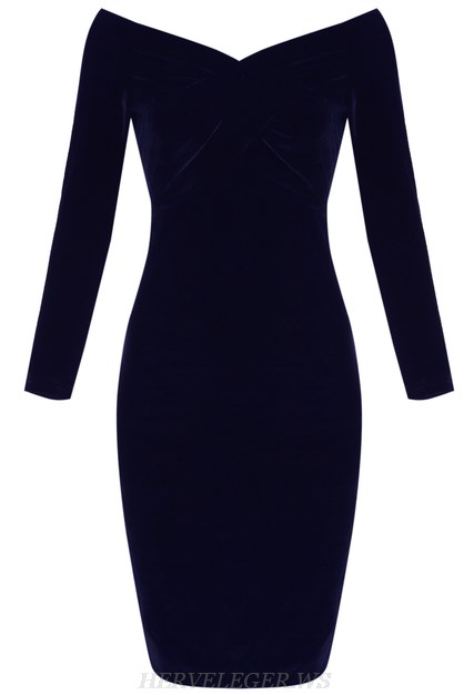 Herve Leger Blue Long Sleeve Bardot Velvet Strapless Dress