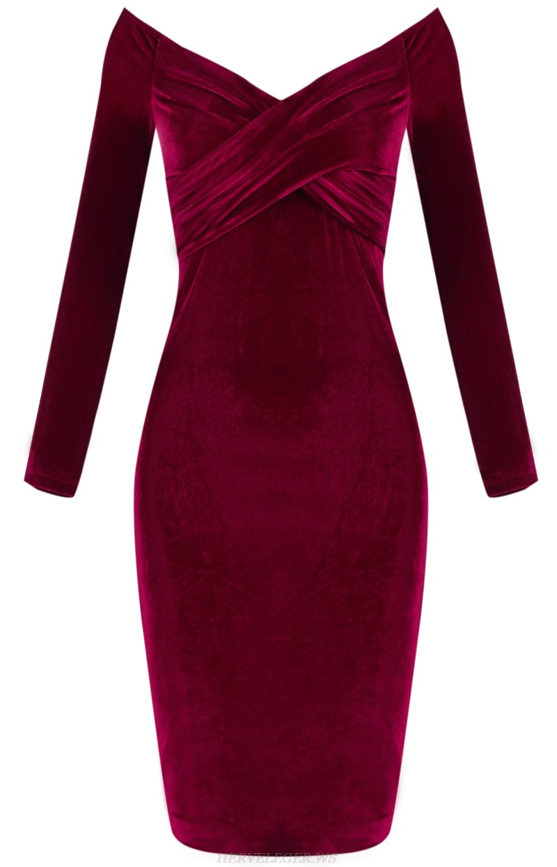 Herve Leger Red Long Sleeve Bardot Velvet Strapless Dress