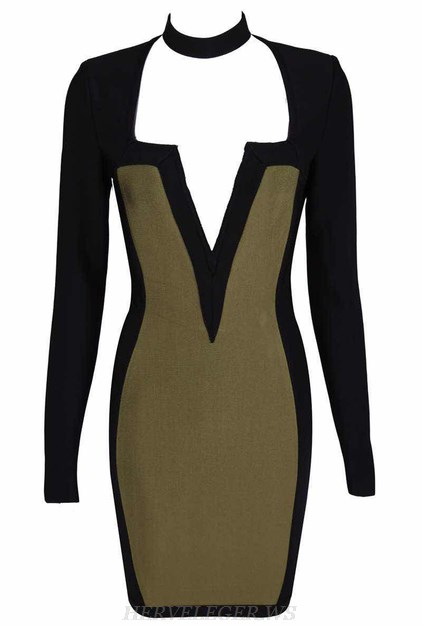 Herve Leger Black Green V Neck Long Sleeve Choker Bandage Dress