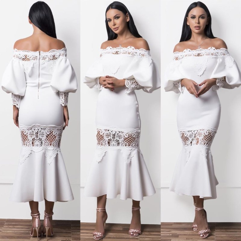 Herve Leger White Strapless Long Sleeve Crochet Bardot Fluted Gown