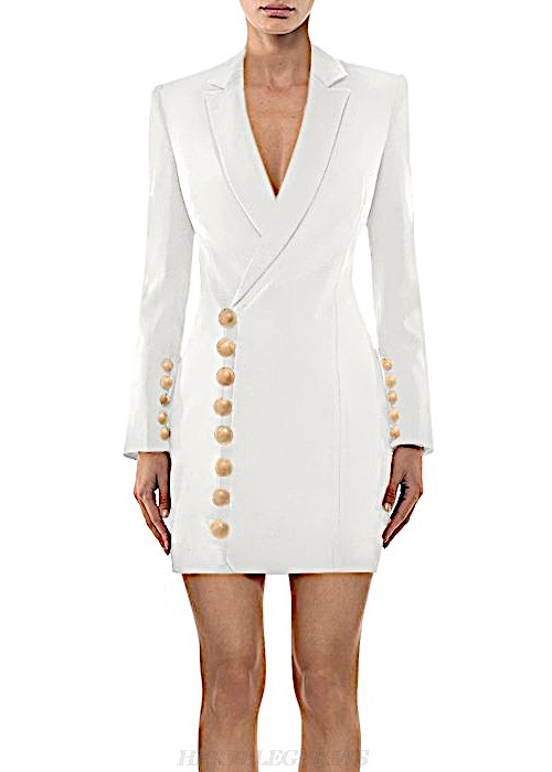 Herve Leger White V Neck Long Sleeve Jacket Dress