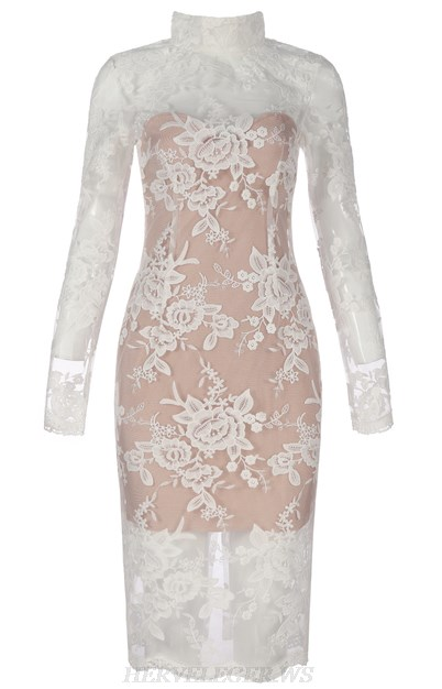 Herve Leger White Nude Long Sleeve Lace Bandage Dress