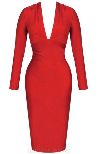 Herve Leger Red V Neck Long Sleeve Plunge Bandage Dress
