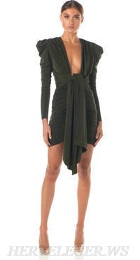 Herve Leger Green Long Sleeve Plunge V Neck Ruched Dress