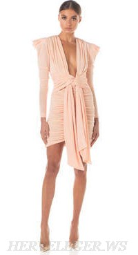 Herve Leger Pink Long Sleeve Plunge V Neck Ruched Dress
