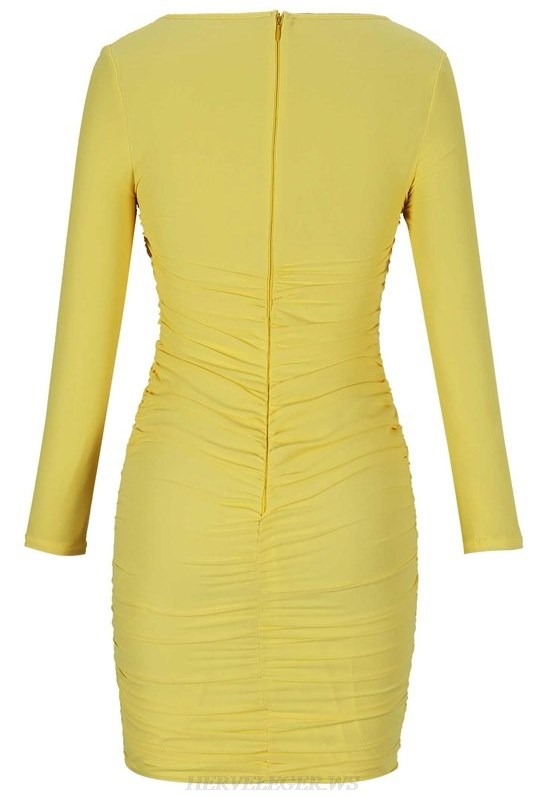 Herve Leger Yellow Long Sleeve Ruched Dress