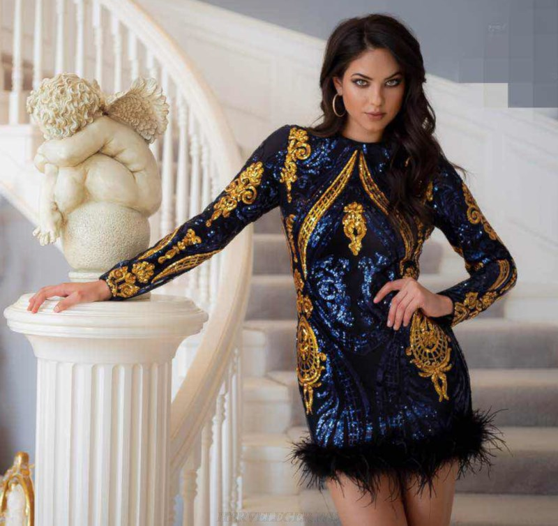 Herve Leger Blue Gold Long Sleeve Sequin Feather Dress