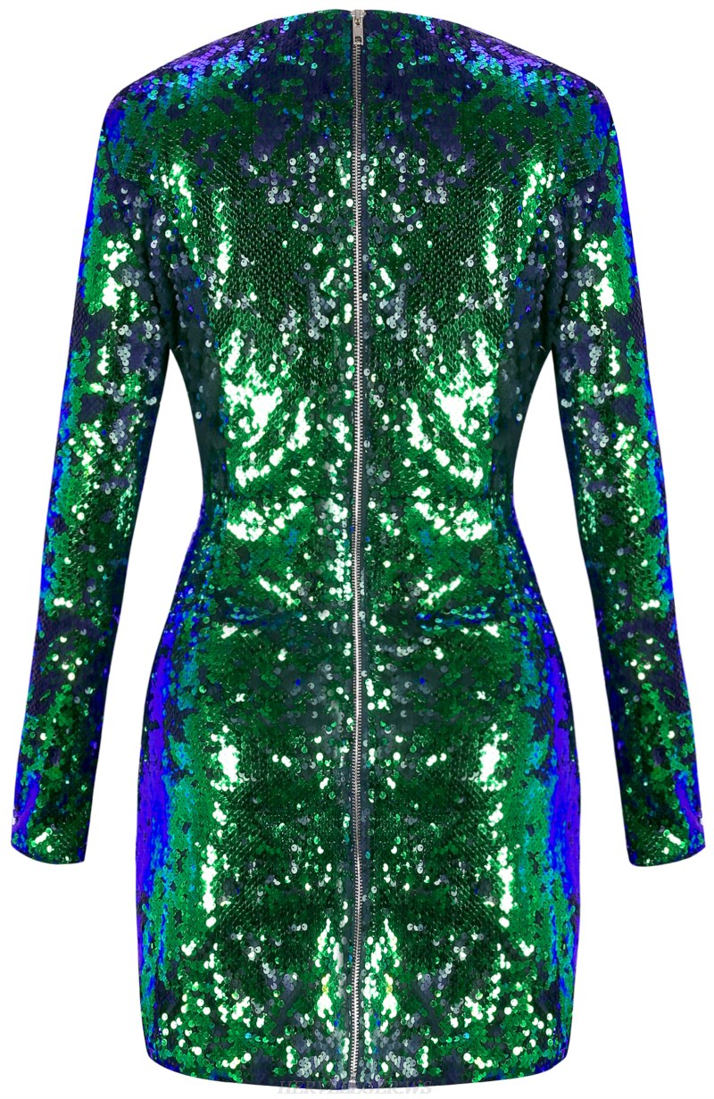 Herve Leger Green Long Sleeve Sequin Dress