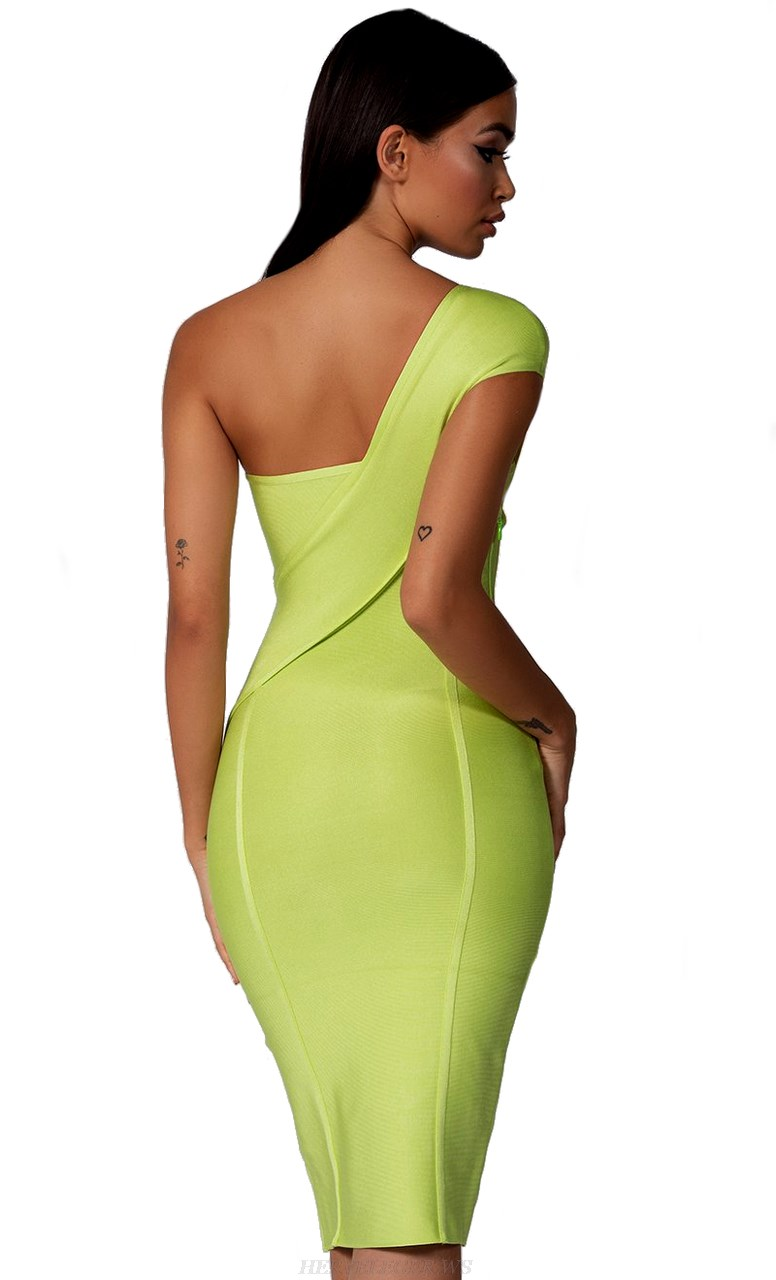 Herve Leger Lime One Shoulder Bandage Dress