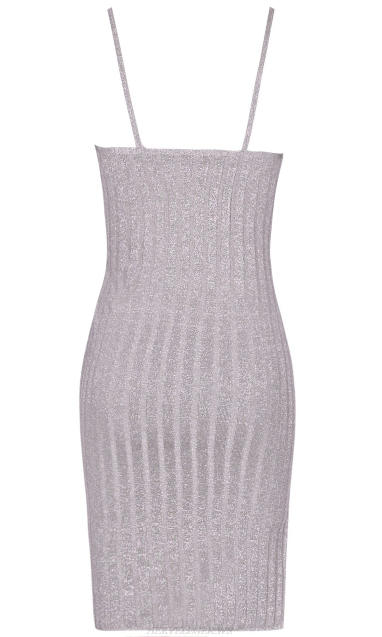 Herve Leger Silver Grey Ribbed Bandage Dress