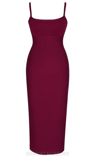 Herve Leger Burgundy Ribbed Detail Bandage Dress