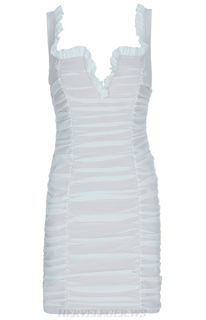 Herve Leger White Ruched Bandage Dress