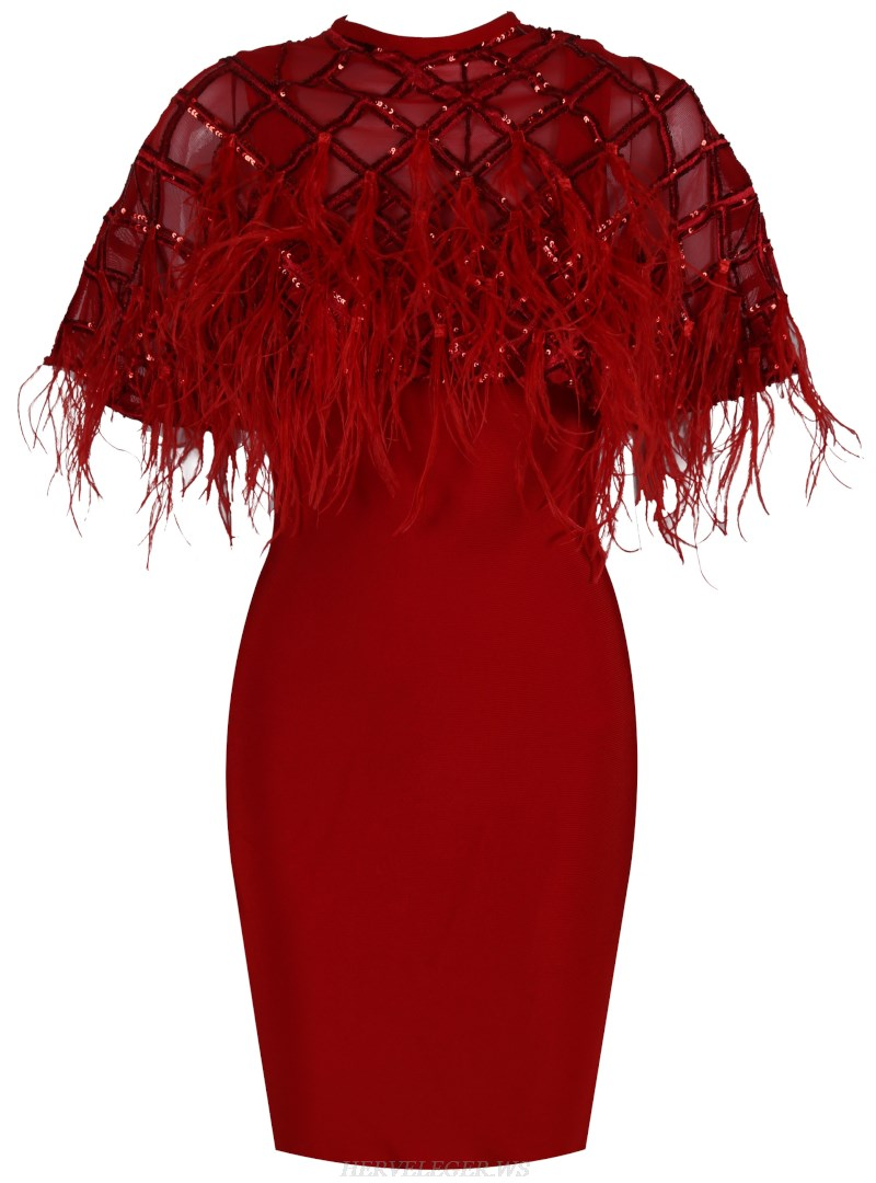 Herve Leger Red Sequin Feather Bandage Dress