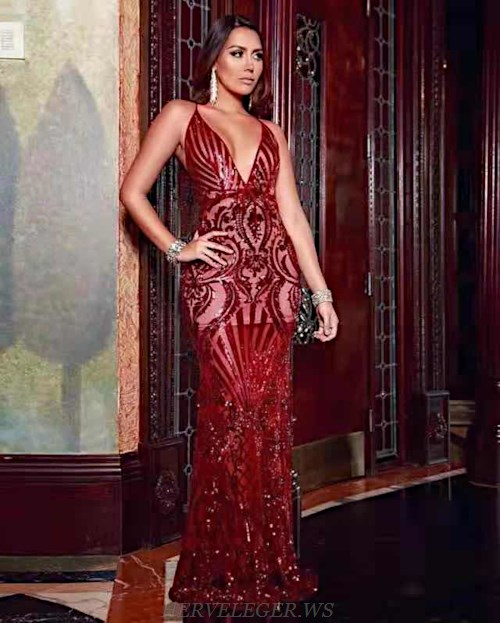 Herve Leger Red Sequin V Neck Mermaid Evening Dress