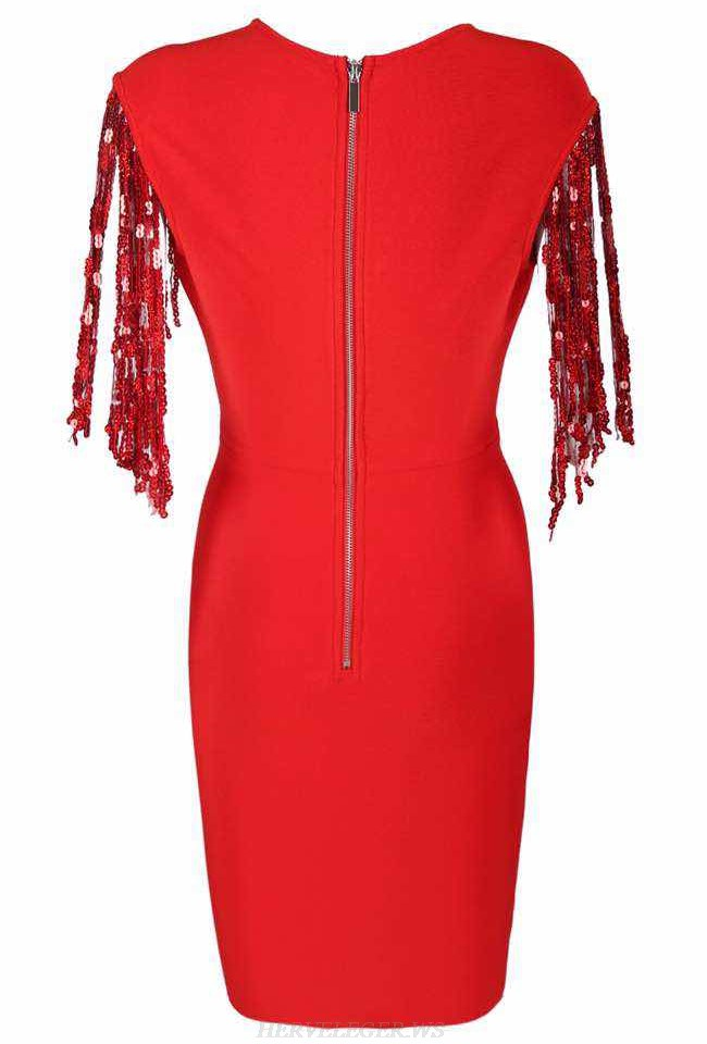 Herve Leger Red V Neck Sequin Tassel Bandage Dress