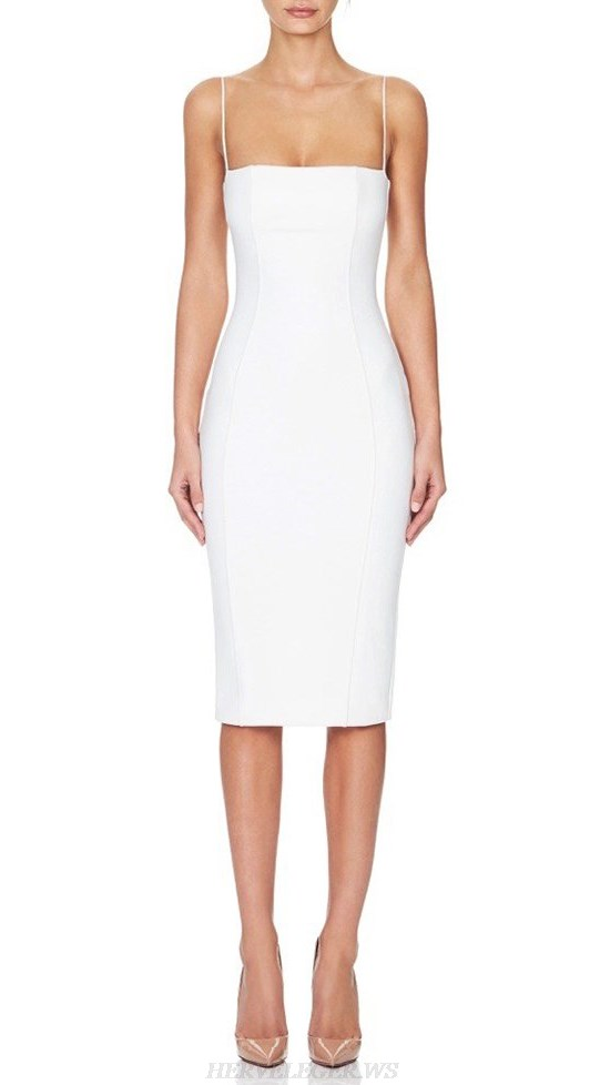 Herve Leger White Straps Strapless Bandage Dress