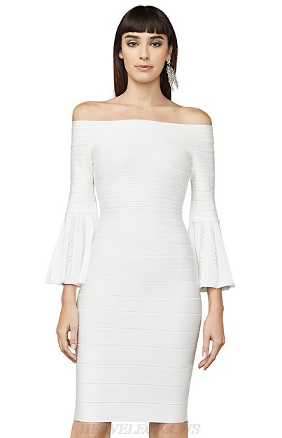 Herve Leger White Trumpet Sleeve Bardot Strapless Bandage Dress