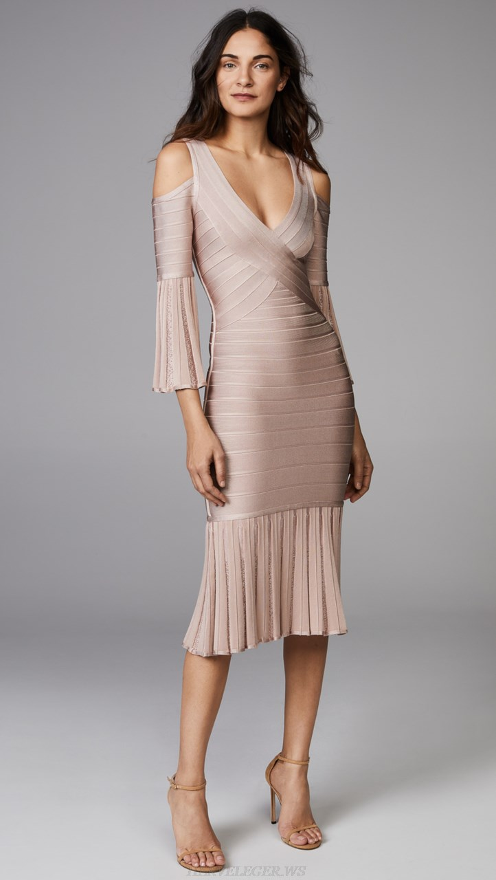 Herve Leger Nude Trumpet Sleeve Fluted V Neck Bandage Dress