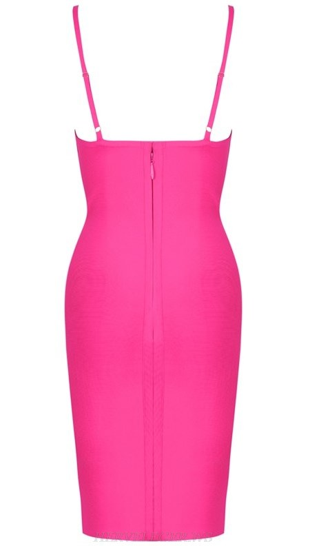 Herve Leger Hot Pink V Neck Bandage Dress