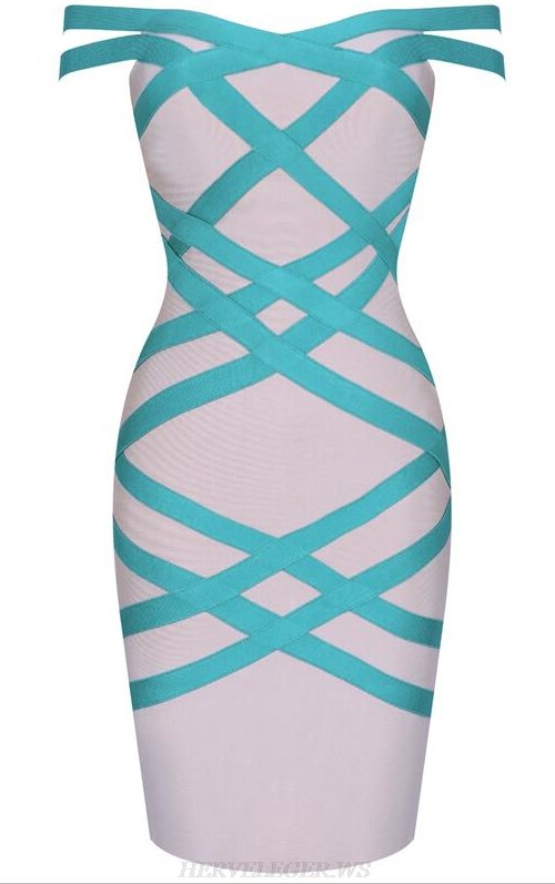 Herve Leger Nude Green Bardot Bandage Dress