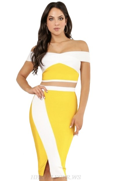 Herve Leger White Yellow Strapless Bardot Two Piece Bandage Dress
