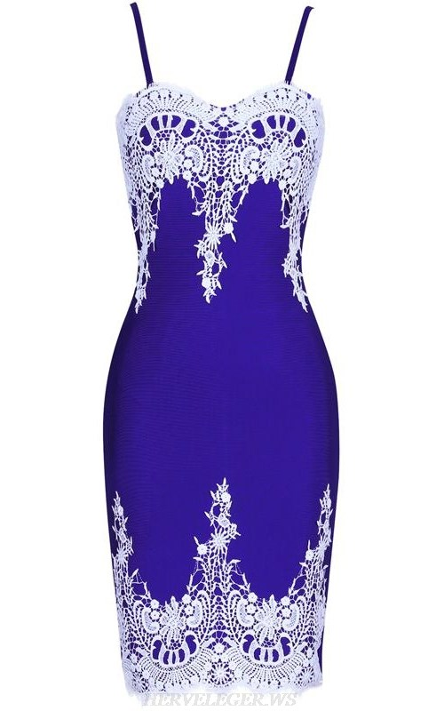 Herve Leger Blue White Crochet Strapless Bandage Dress