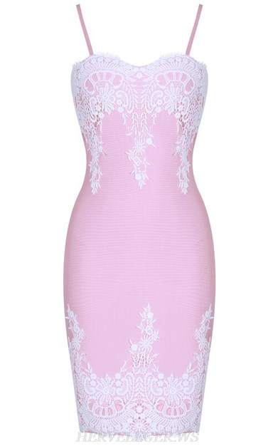 Herve Leger Pink White Crochet Strapless Bandage Dress