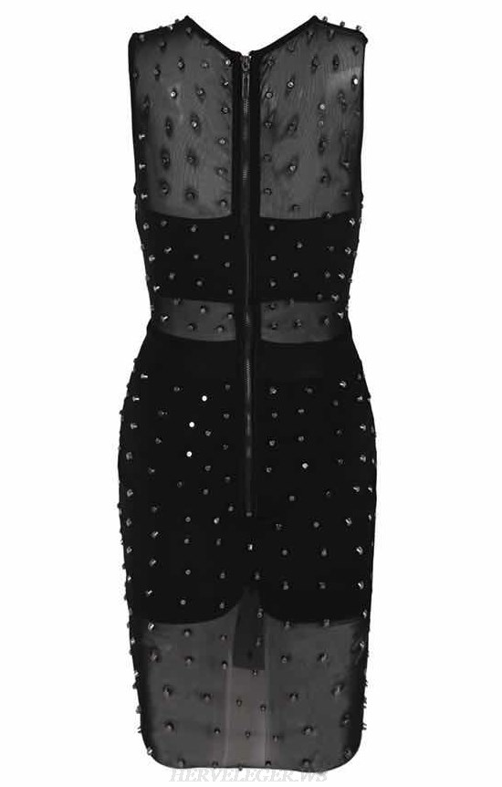 Herve Leger Black Embellished Mesh Stars Bandage Dress