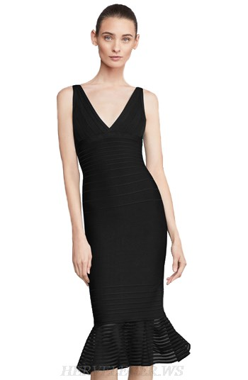 Herve Leger Black V Neck Fluted Mesh Bandage Dress