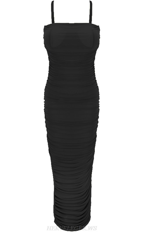 Herve Leger Black Strapless Gathered Mesh Dress