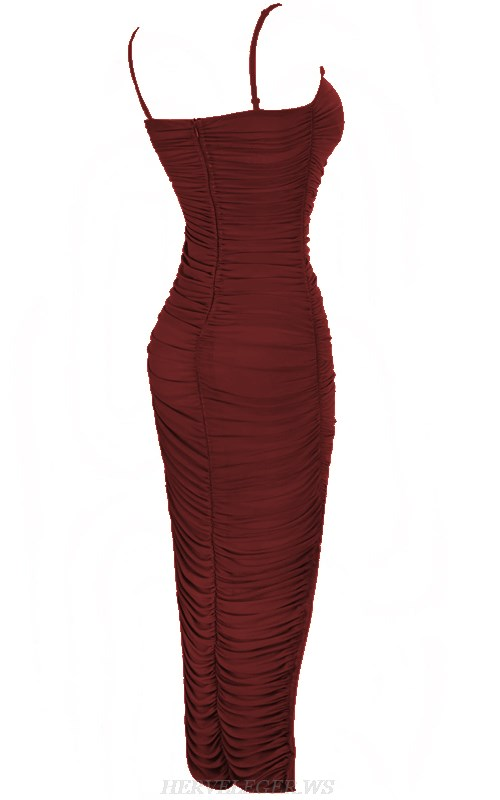 Herve Leger Burgundy Strapless Gathered Mesh Dress