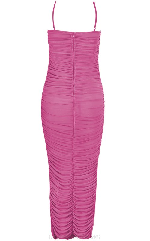 Herve Leger Pink Strapless Gathered Stars Mesh Dress
