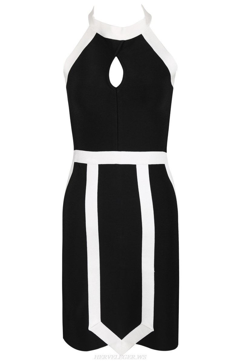 Herve Leger Black And White Halter Stars Bandage Dress