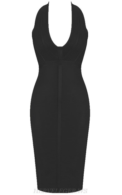 Herve Leger Black V Neck Halter Ribbed Bandage Dress