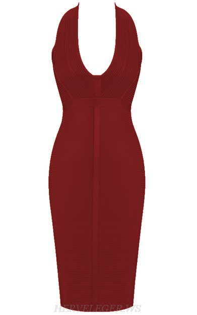 Herve Leger Burgundy V Neck Halter Ribbed Bandage Dress