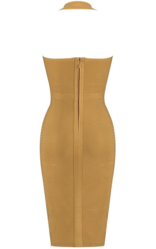 Herve Leger Mustard Green V Neck Halter Ribbed Bandage Dress