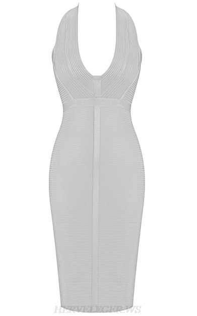 Herve Leger White V Neck Halter Ribbed Bandage Dress