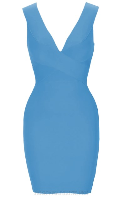 Herve Leger Blue Plunge V Neck Bandage Dress