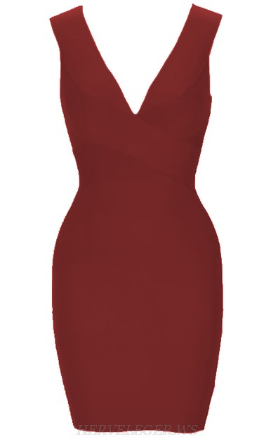 Herve Leger Burgundy Plunge V Neck Bandage Dress