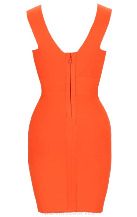 Herve Leger Orange Plunge V Neck Bandage Dress
