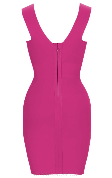 Herve Leger Pink Plunge V Neck Bandage Dress