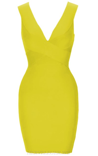 Herve Leger Yellow Plunge V Neck Bandage Dress