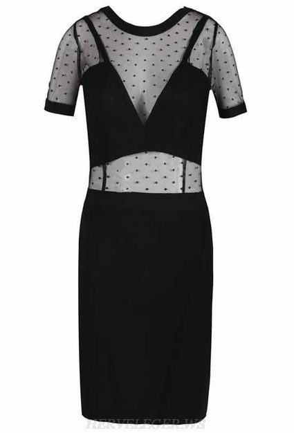 Herve Leger Black Short Sleeve Mesh Bandage Dress